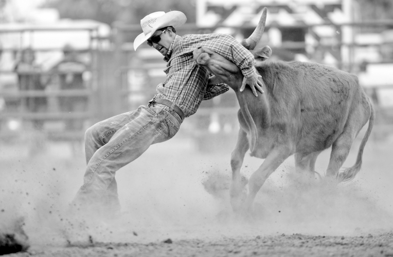 RODEO135.jpg David Crawford struggles to hold on during steer wrestling at the CPRA Rodeo at the Boulder County Fairgrounds on Sunday. Go to timescall.com for more photos. Matthew Jonas / Staff Photographer Aug. 2, 2015