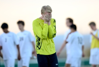 Niwot High School's goal keeper Shane Ryan reacts to being defeated by Standley Lake High School in playoffs on Tuesday. Go to timescall.com for more photos. Matthew Jonas / Staff Photographer Nov. 3, 2015