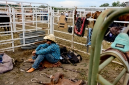 Saddle Bronc rider Cory Byrd waits to ride during the CPRA sanctioned rodeo on Sunday at the Boulder County Fair in Longmont. The rodeo featured nine events including bareback riding, steer wrestling, tie-down roping, breakaway roping, saddle bronco riding, mixed team roping, open team roping, ladies barrel racing and bull riding. More photos: timescall.com. Matthew Jonas/Times-Call July 30, 2017